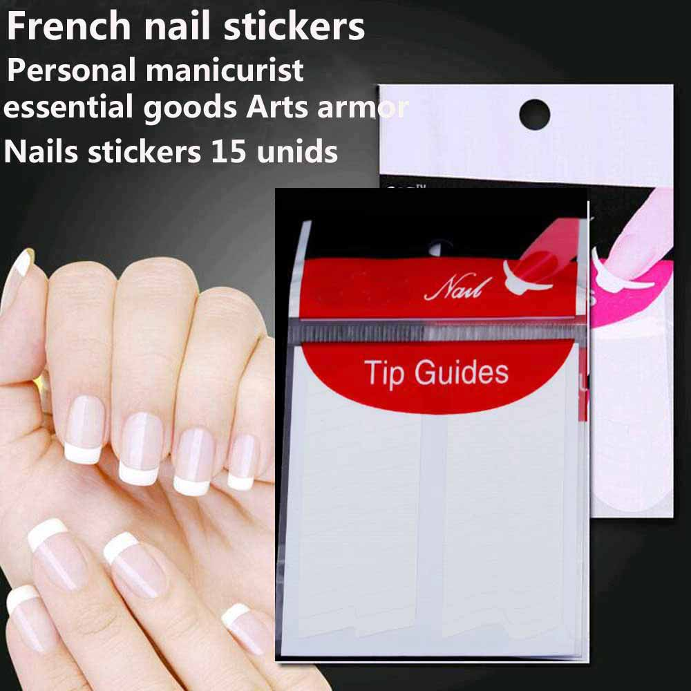 TOMTOSH Nails stickers 15 unids guide tips French Manicure Nail Art ... 151e80625e3
