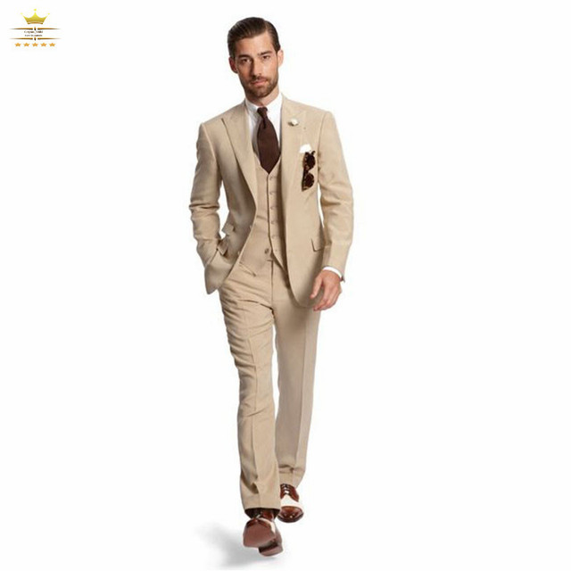 Champagne Grooms Mens Tuxedos Custom Wedding Suits For Men With ...