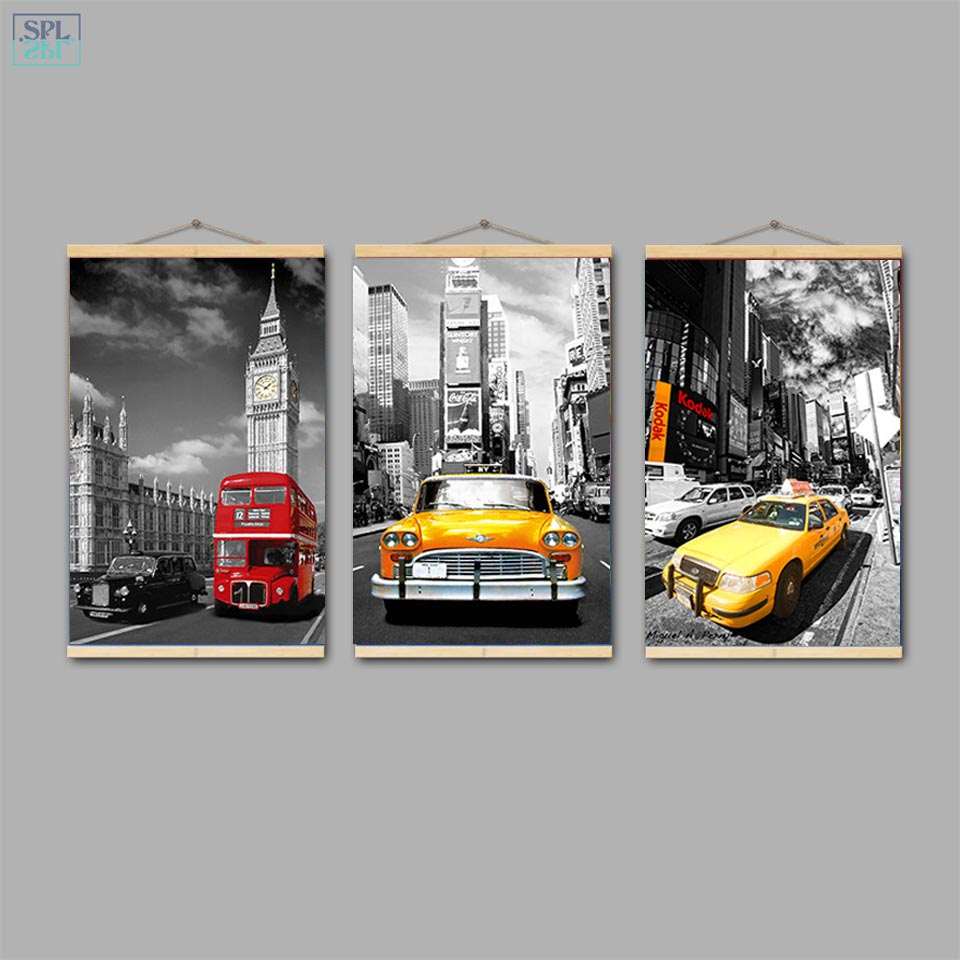 SPLSPL Street View Yellow Red Bus Taxi Decoration Picture Big Ben Scenery Canvas Wall Ar ...