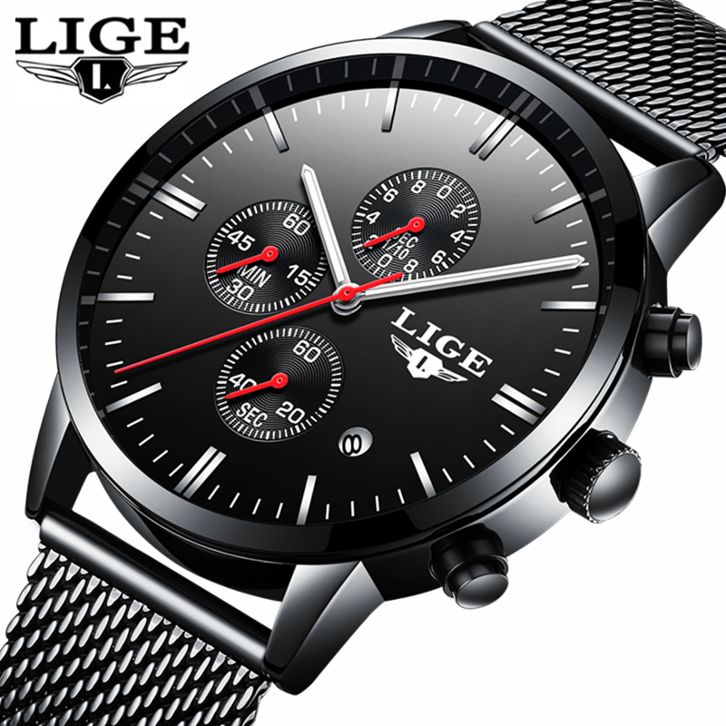 LIGE Thin Dial Fashion Watches Men Stainless Steel Mesh Strap Casual Band Quartz Watch Male Calendar Clock Relogio Masculino 27 new fashion top luxury brand wwoor watches men quartz watch stainless steel mesh strap ultra thin dial clock relogio masculino