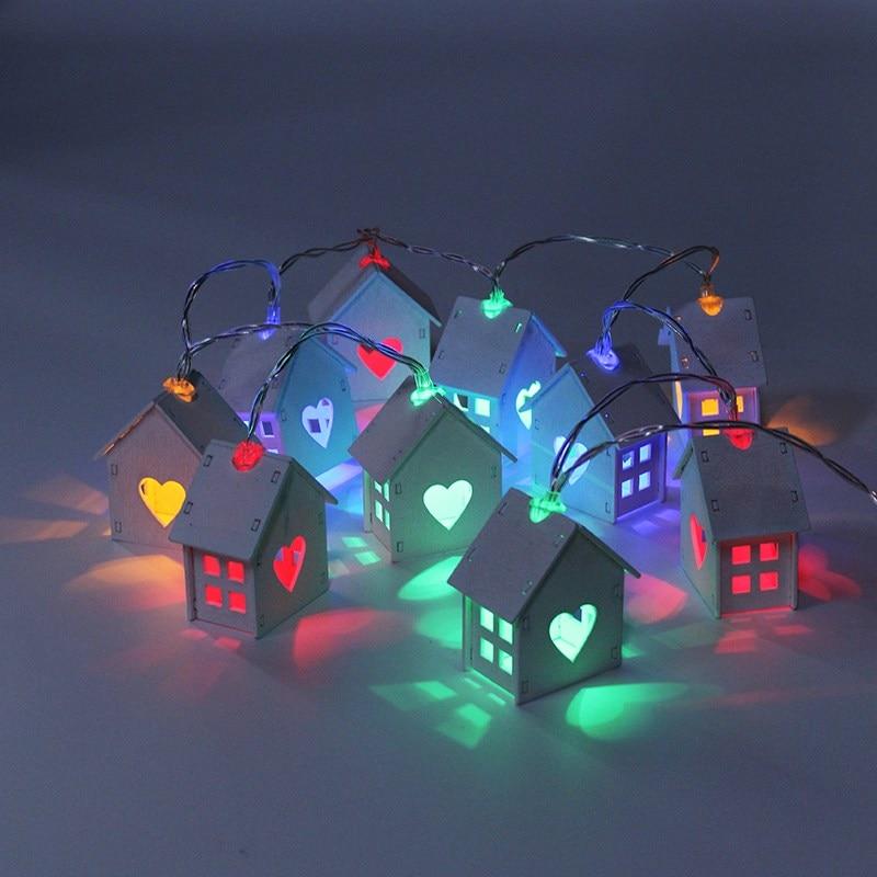 1.2M 10 LEDs Holiday Light Wooden House Shaped Fairy Lighting LED String Light Battery Powered For Home Decoration DC3V