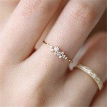 Moda moda feminina anel dedo jóias rosa ouro/tira/ouro cor strass cristal opala anéis 6/7/8/9 tamanho venda quente