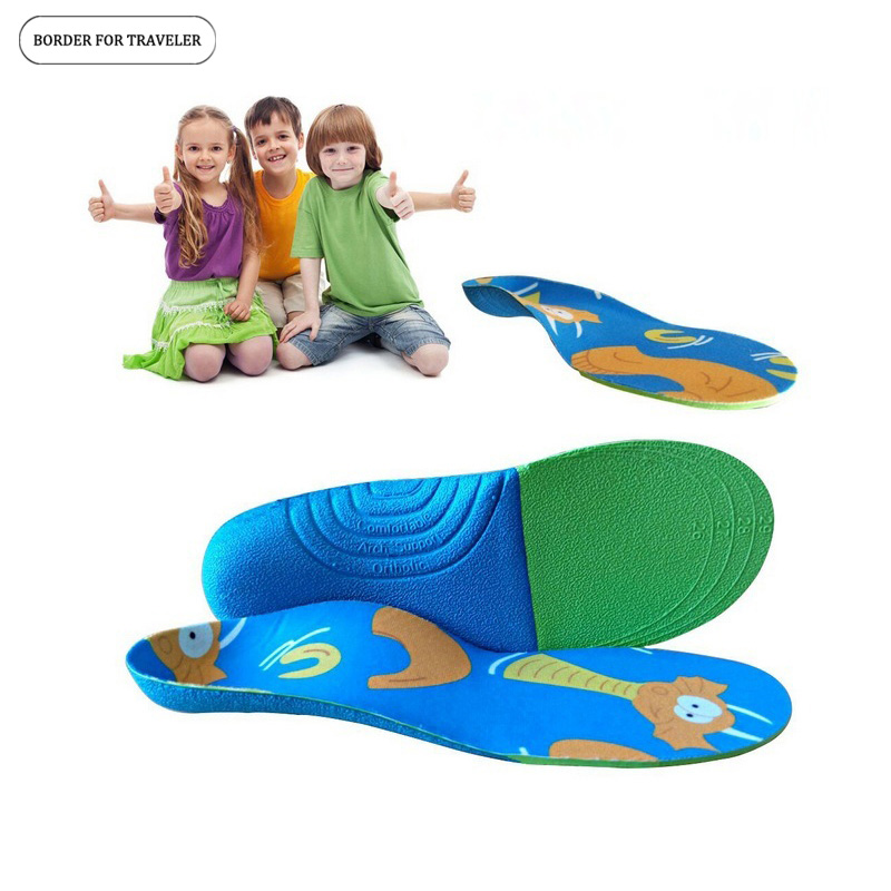 BORDER FOR TRAVELER Orthopedic Insoles Comfortable EVA Kids Children insoles Flat Foot Arch Support Child Shoe Insole Pads Sole kids children pu orthopedic insoles for children shoes flat foot arch support orthotic pads correction health feet care w046