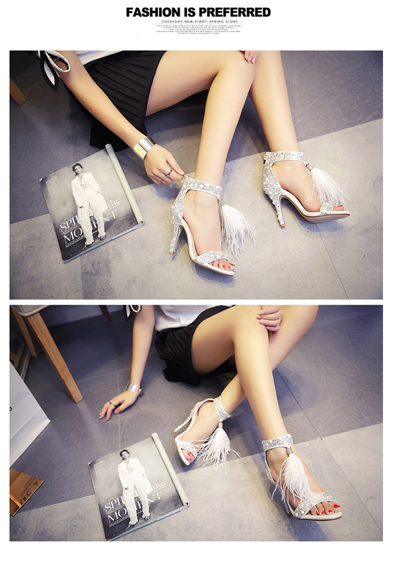 Genuine Leather Women Sandals Summer Shoes High Heels Brand Fur Rhinestone Feather White Woman Wedding Shoes Heels Plus Size 36 12