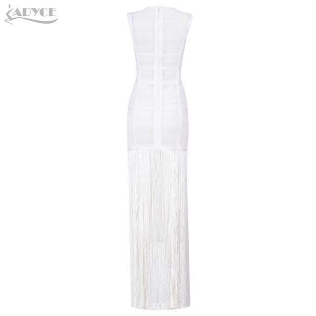 Adyce 2019 New Summer Women Bandage Dress Vestidos Sexy Maxi Celebrity Evening Party Dress White Tank Tassels Fringe Club Dress 3