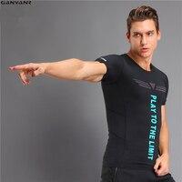 GANYANR 브랜드 실행 T 셔츠 남성 압축 스타킹 스포츠 정장 스판덱스 운동 스포츠 스포츠 피트니스 건조 맞는 체육