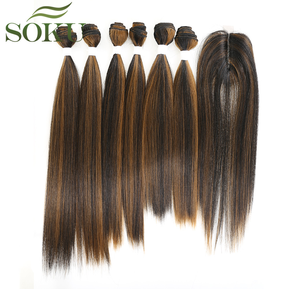 Yaki Straight Synthetic Hair Bundles With Lace Closure 7Pcs/Pack Ombre Brown Hair Bundles 16-20 Inch Hair Weave SOKU