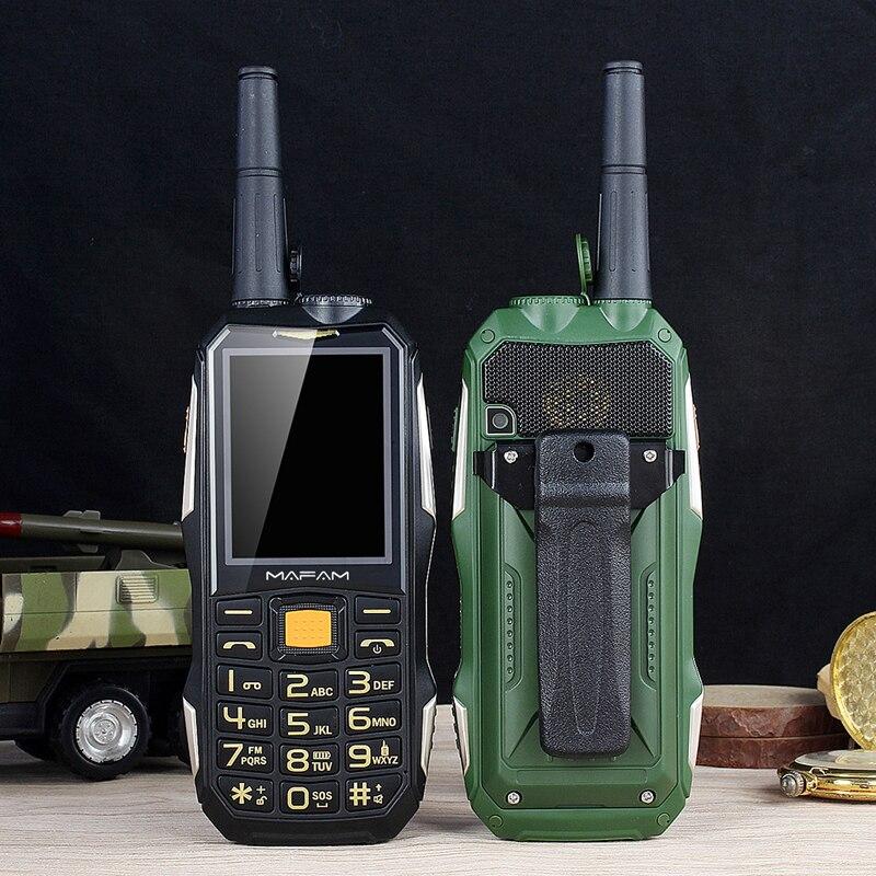 Mafam m2 + áspero telefone móvel com antena bom sinal uhf walkie talkie 1.5 w power bank tocha intercom recurso celular