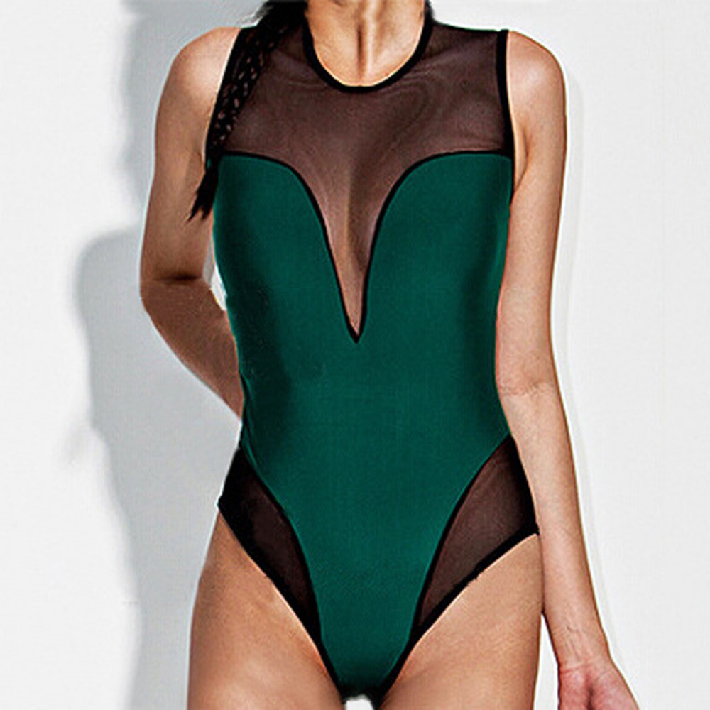 2019 Women\`s sexy mesh print one-piece swimsuit swimming skirt summer swimsuit beachwear breathable quick-drying swimwear 40M30 (1)