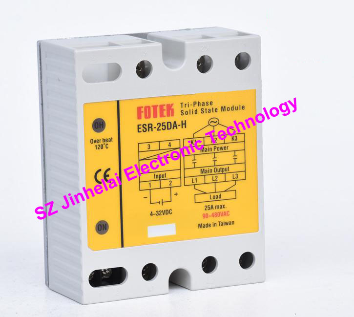 ESR-25DA-H  New and original FOTEK  Three-phase solid state relay,3-Phase Solid state module  25A brand new original japan niec indah pt150s16a 150a 1200 1600v three phase rectifier module