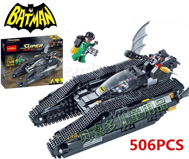 ФОТО 506pcs Batman Bat-Tank Riddler Tumbler Batmobile Super Heroes DC Building Blocks Set Toy Figure Lepin 7787