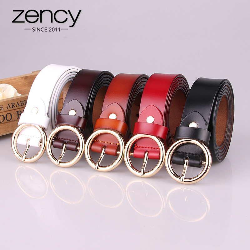 Zency Luxury Brand 100% Genuine Leather Women Belts High Quality Fashion Round Pin Buckle Waist Belt For Jeans Black White Brown