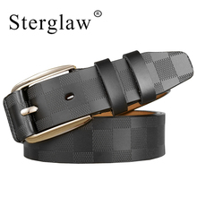 110 125x3.8cm Classic lattice leather genuine leather belt Mens luxury man brand cowboy belts for men jeans ceinture homme C217
