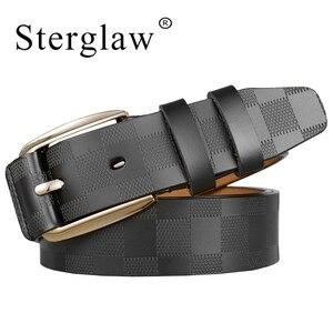 Image 1 - 110 125x3.8cm Classic lattice leather genuine leather belt Mens luxury man brand cowboy belts for men jeans ceinture homme C217