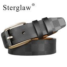 Cinturones de cuero genuino 110 125x3.8cm con entramado clásico para hombre, lujosos cinturones vaqueros para hombre C217
