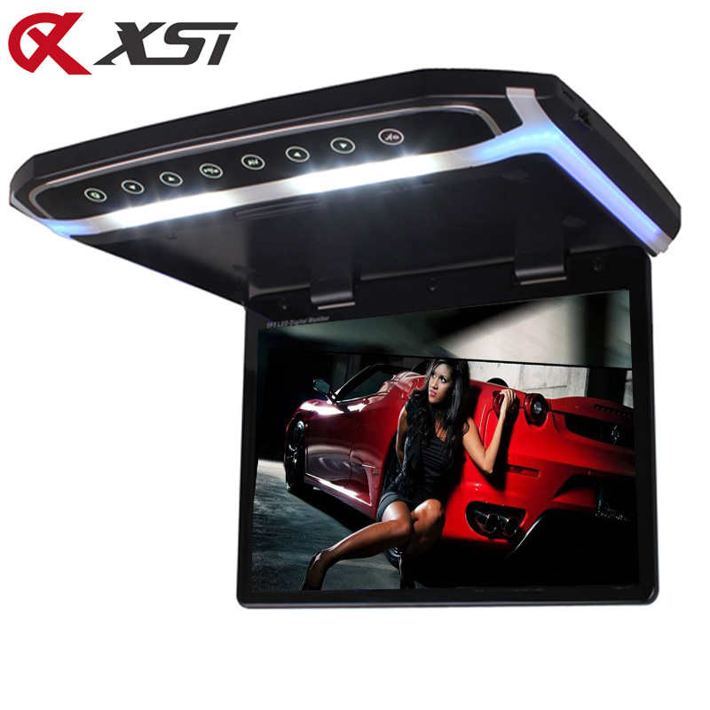 XST 15.6 Inch Car Roof Mount Monitor Flip Down TFT LCD Player Support 1080P USB FM HDMI SD Touch Button Ceiling MP5 Player-in Car Monitors from Automobiles & Motorcycles    1