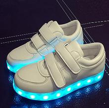 7 цвета Дети Кроссовки детей USB зарядки Световой Освещенные Кроссовки Мальчиков/Девочек Красочные светодиодные фонари детская Обувь
