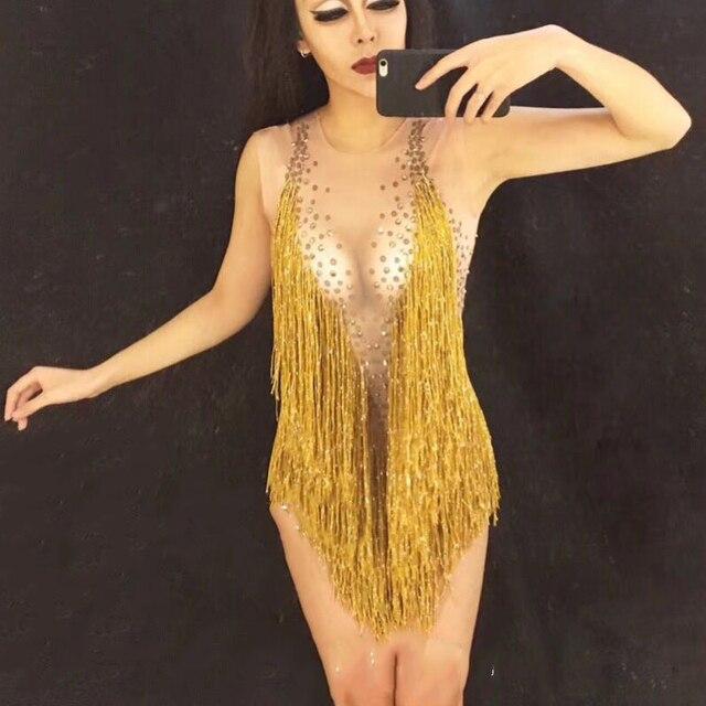 Jazz Dance Costumes Rhinestone Golden Tassel Jumpsuit Bar Dj Sexy Nightclub Bodysuit DS Singer Stage Show Rave Clothes DN1980