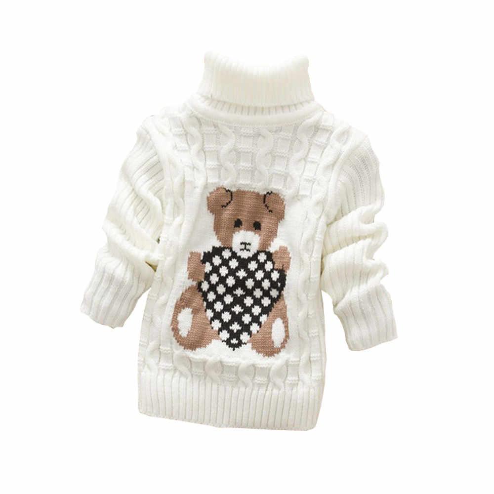 Ubrania dla dzieci wysokiej jakości dziewczynek chłopców swetry swetry z golfem jesień zima ciepłe ubrania z nadrukami nosić dzieci sweter