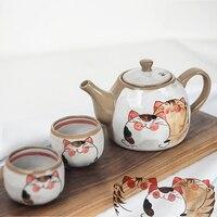 Japanese cute cartoon cat Kung Fu teapot tea set rough pottery painted underglaze color
