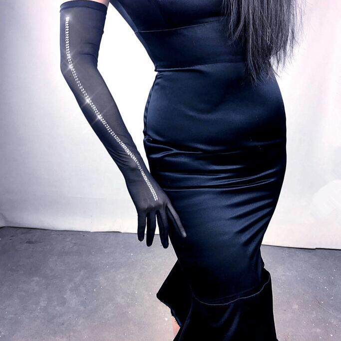 Women'a Fashion Sexy Slim Elastic Mesh Glove Lady's Club Performance Formal Party Long Glove 52cm R594