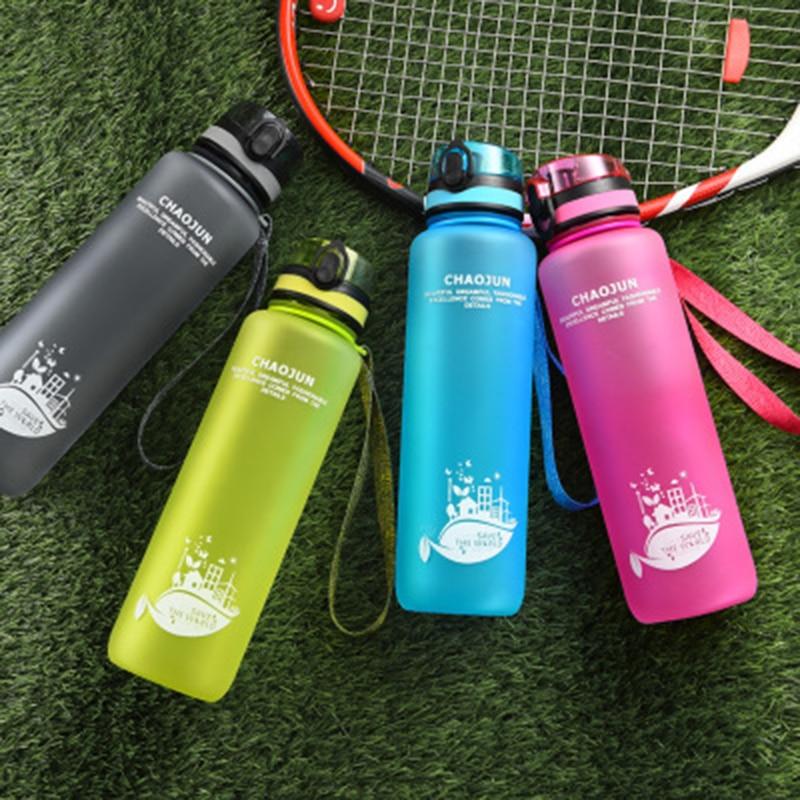 New 1 liter bottle plastic nature hike Sport Water Bottles 350 600 1000ml Portable Leakproof large Outdoor travel running bottle-in Sports Bottles from Sports & Entertainment