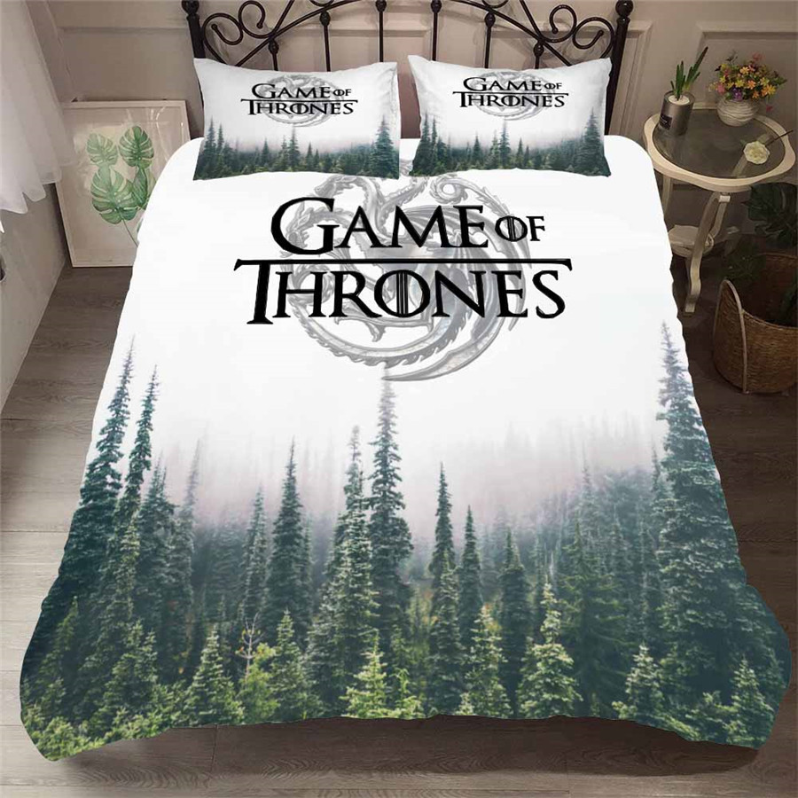 HELENGILI 3D Bedding Set Game Of Thrones Print Duvet Cover Set Bedcloth With Pillowcase Bed Set Home Textiles #GOT-26