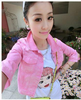 Женщины деним куртка короткая джинсы пальто для девочка деним пэчворк пиджаки конфеты цвет винтажный топы