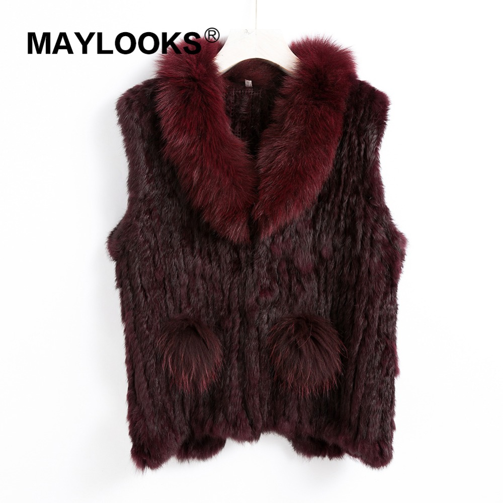 2018 New Lady Real Rabbit Real Fur Vests Fur Collar Women Winter Fashion Gilet Waistcoat Ladies Coat CS143 in Real Fur from Women 39 s Clothing