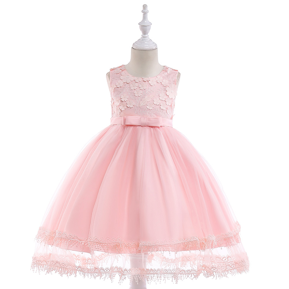 Retail Beauty Princess Embroidery Princess Birthday Party Prom Pink   Dress   With Bow Elegant Appliques   Flower     Girls     Dress   L5030