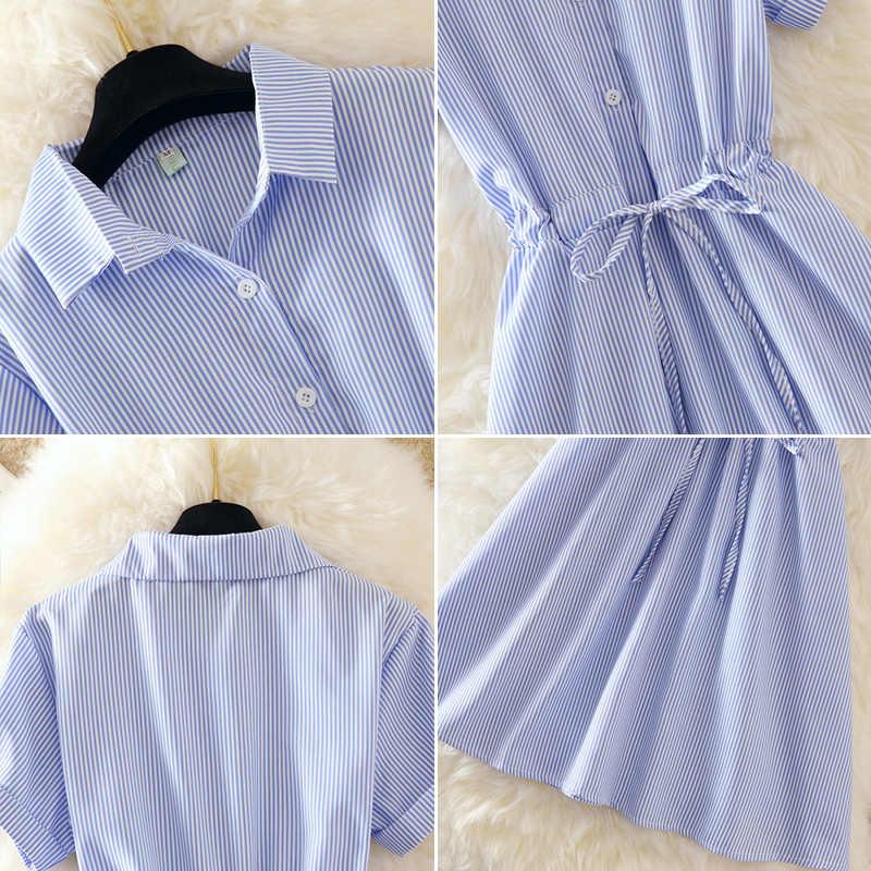 2018 летнее женское платье деловая модельная одежда рубашка элегантный синий в полоску Туника мини-платье с отложным воротником короткий рукав носить на работу E18