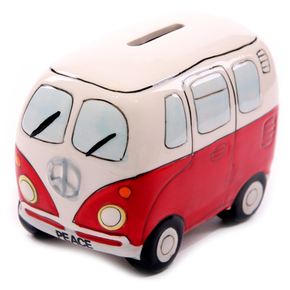 Camper Van Ceramic Money Box Coin Bank Recreational Vehicle Piggy Bank Caravan Travelers Truck Money Pot Retro Campervan Gifts