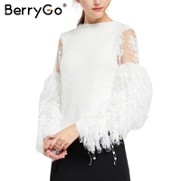 BerryGo Patchwork Mesh Knitting Pullover Fashion Tassels Autumn Winter Sweater Women Tops Casual Embroidery Jumper Pull