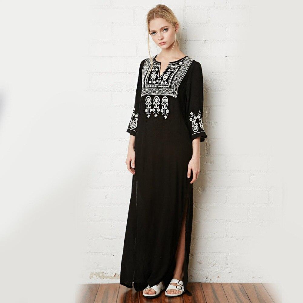 Boho Flower Embroidery Maxi Dress Summer Robe V Neck Split Sexy Vintage Hippie Ethnic Chic Style