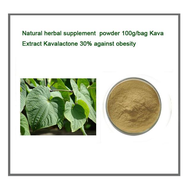 Natural herbal suplemento Kava Extrato em pó 100 g/saco Kavalactone 30% contra a obesidade