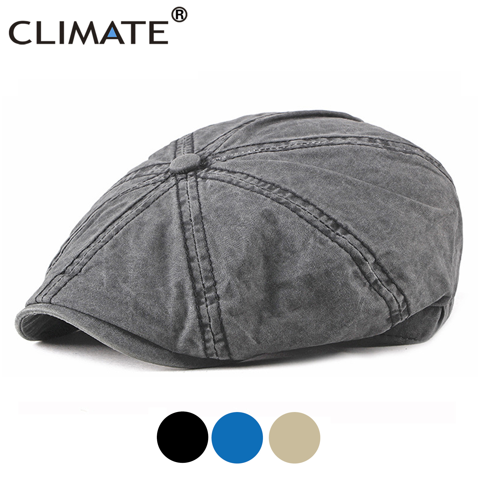 CLIMATE Super Plus Size Cap Hat Men Man Washed Newsboy Caps Black Cotton Solid Berets Caps Newsboy Cap Vintage Hat For Big Head