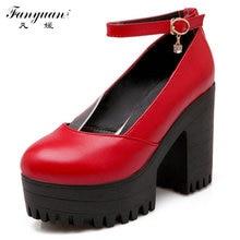 Große Größe 34-43 Mode Dicken High Heels Plattform Pumpt Schuhe Für Weibliche reizvolle Beiläufige Dame mädchens High Heels Schuhe