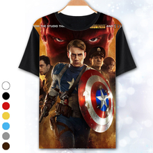 Summer Captain America Men's T-shirt spider-man Short Sleeve Men Tees The Avengers Iron Man Hulk Cosplay batman