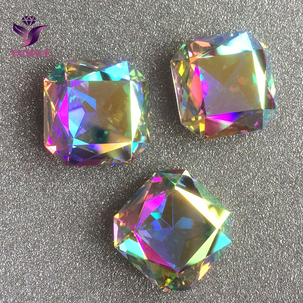 #4675 23mm Crystal AB 8pcs Vierkante Octagon Pointback Crystal Fancy Stones Steentjes Sieraden Instellingen|jewelry pendant settings|jewelry set bridaljewelry set box - AliExpress