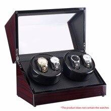 Часы Winders 4 слота Лаковая деревянная вращающаяся электрическая коробка для часов Бесшумный Мотор дисплей часы Роскошный США штекер чехол для часов