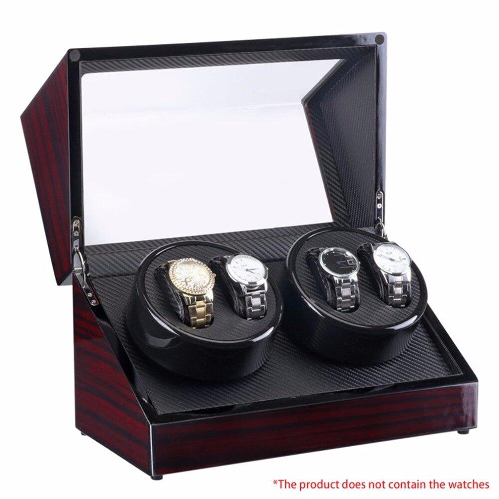 Relógio Enroladores 4 Slots de Madeira Laca Rotate Caixa de Relógio Elétrico Silencioso Motor Visor do Relógio Caso Relógio de Luxo EUA Plug