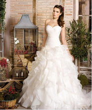 Ruffles Tiered Organza Lace Up Sexy Wedding Dresses Plus Size 2016 Ball Gown Custom Cheap China Custom vestido de noiva Bridal