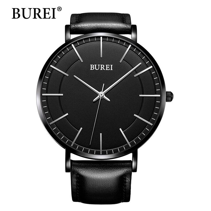 Men Watches BUREI Ultra Thin Hours Top Fashion Casual Brand Business leather Strap Waterproof Quartz Wrist Watch Hot Sale Gift