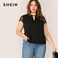 3bb1a39790 SHEIN Plus Size Black Guipure Lace Sleeve Peekaboo Top Tee 2019 Women  Summer Casual Cap Sleeve