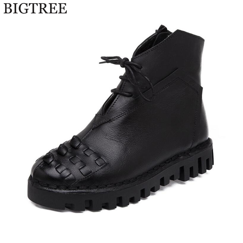 HOT SALE Shoes Women Retro Boots Handmade Ankle Boots Flat Boots Real Genuine Leather Shoes Women Shoes Womens boots k445 ...