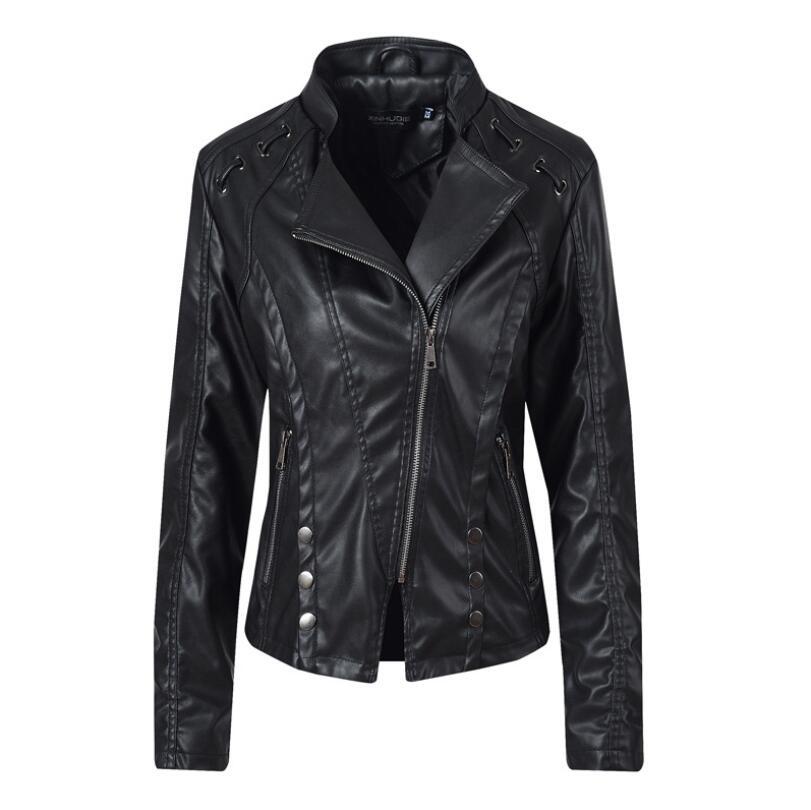 Stylish women's   Leather   jackets 2019 Autumn Winter Slim short black Turndown collar Coat PU   leather   jacket locomotive jackets