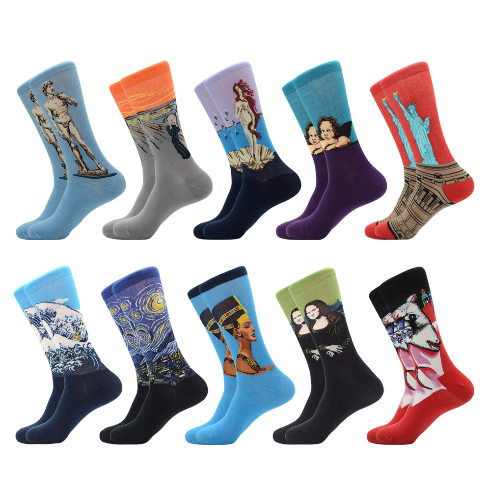 Jhouson 1 Pair New Colorful Men's Combed Cotton Trendy Wedding Socks Funny Casual Crew Skateboard Socks Novelty Gifts