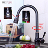 Kitchen Faucets Black Single Handle Pull Out Kitchen Tap Single Hole Handle 360 Rotate Crane Chrome