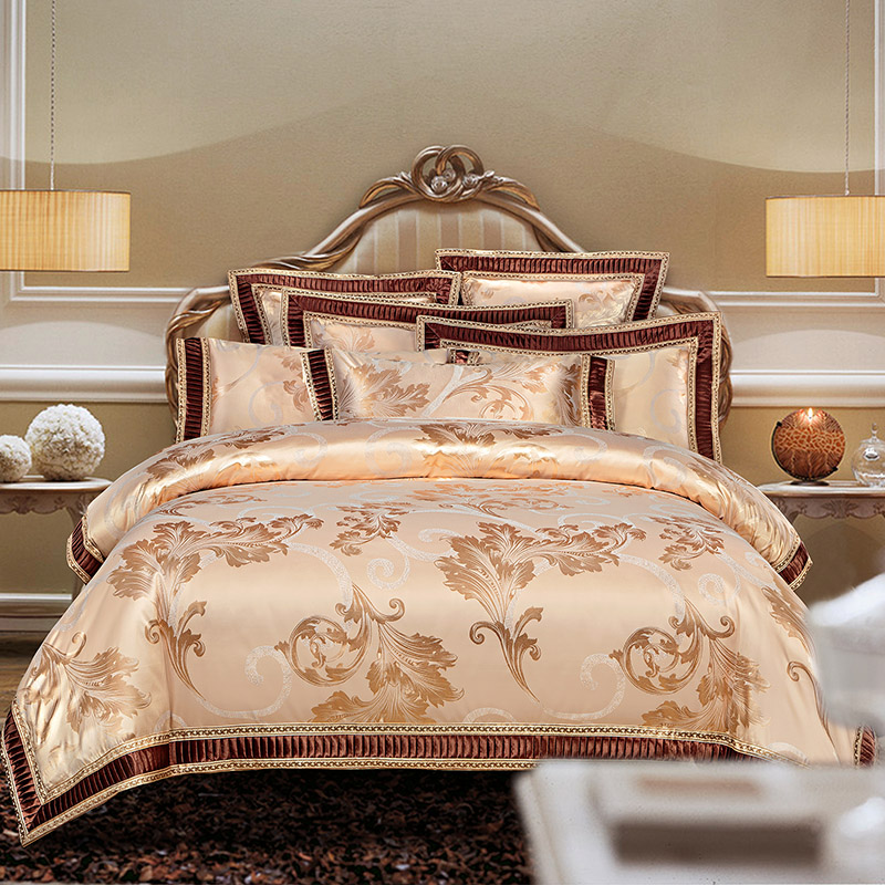 New Arrival Queen King size Satin Jacquard Duvet cover set Luxury Wedding Bedding set Bed sheet set Pillowcases