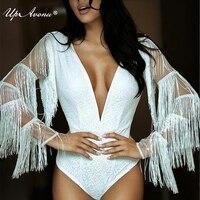 Sexy deep v neck white long sleeves tassel one piece fashion bodycon winter bodysuit women 2018 drop ship wholesale UP116